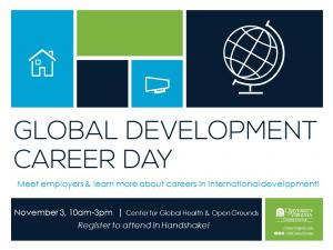 Global Development Career Day Flyer: Join Us and Register here: https://virginia.joinhandshake.com/events/59412/share_preview