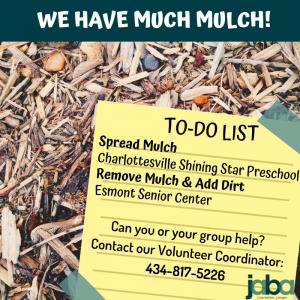 We have much mulch to-do list spread mulch charlottesville shining star preschool remove mulch and add dirt esmont senior center