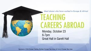 Teaching Careers Abroad Flyer: Register at https://virginia.joinhandshake.com/events/62394/share_preview