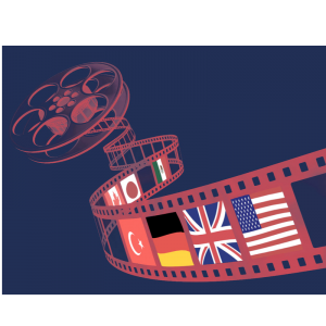 Film strip with flags on it