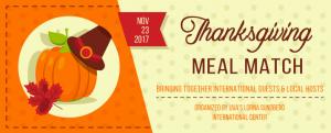 Nov. 23, 2017: Thanksgiving Meal Match. Bringing Together International Guests & Local Hosts | Organized by UVA's Lorna Sundberg International Center